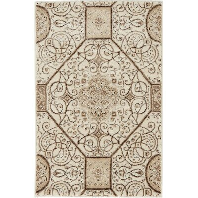 Mathieu Cream/Brown Area Rug Rug Size: 4 x 6
