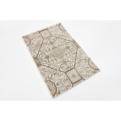 Mathieu Cream/Brown Area Rug Rug Size: 2 x 3