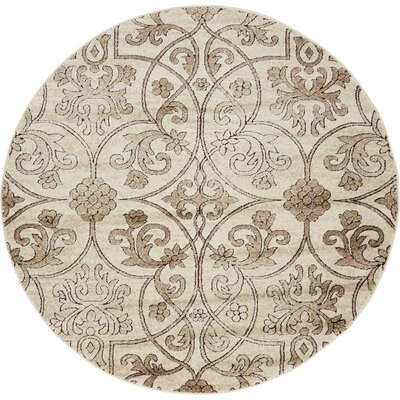 Mathieu Dark Beige/Brown Area Rug Rug Size: Round 5