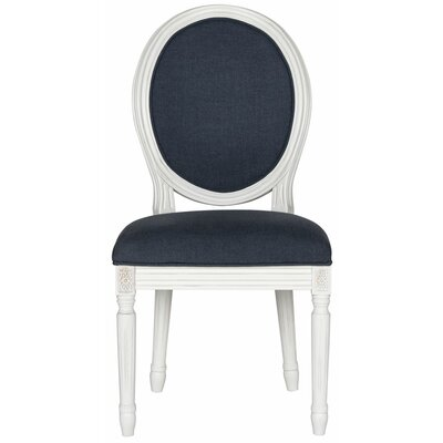 Alpes Side Chair Frame Finish / Upholstery: Cream / Navy