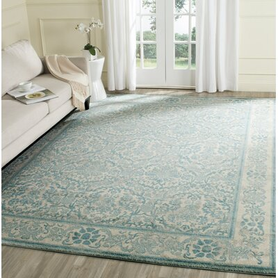 Montelimar Ivory/Light Blue Area Rug Rug Size: Rectangle 22 x 4