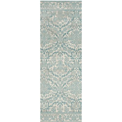 Montelimar Ivory/Light Blue Area Rug Rug Size: Runner 22 x 9