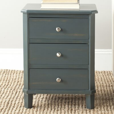 Belle De Nuit End Table With Storage Color: Steel Teal