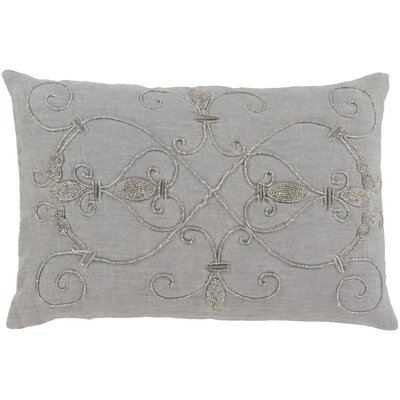 Pensee 100% Linen Lumbar Pillow Cover Color: GrayMetallic
