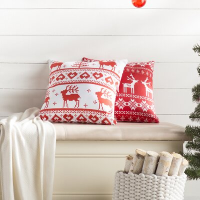 Christmas Red Deer Indoor/Outdoor Throw Pillow Size: Medium