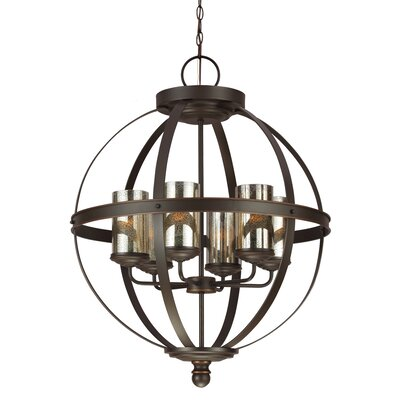 Haute-Marne 6-Light Globe Pendant Bulb Type: 100W A19 Medium, Shade Color: Mercury
