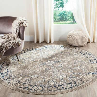 Palaiseur Taupe/Blue Area Rug Rug Size: Round 67 x 67
