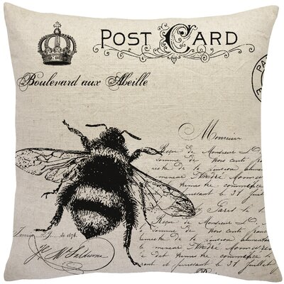 Loire French Bee Linen Throw Pillow
