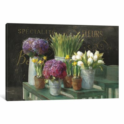 Les Fleurs Printemps Painting Print on Wrapped Canvas in Black