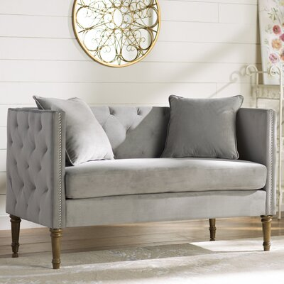 Vanves Tufted Chesterfield Settee Upholstery: Gray