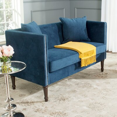 Vanves Tufted Chesterfield Settee Upholstery: Navy Blue