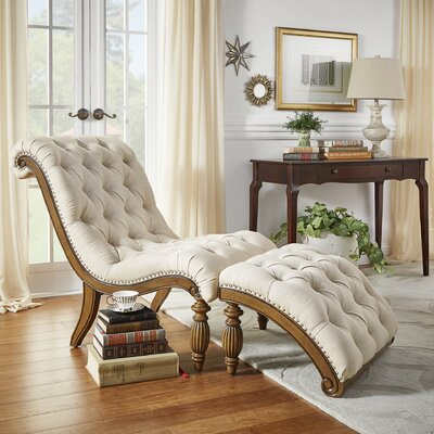 Celya Chaise Lounge and Ottoman Set Upholstery: Beige