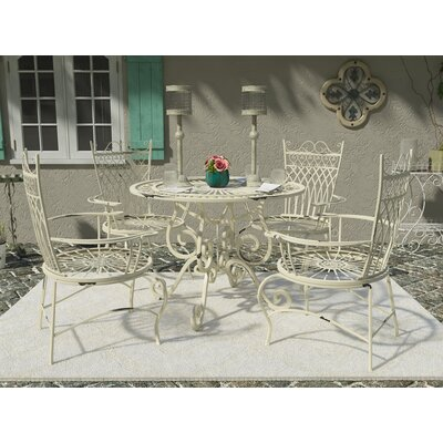 Lamarre 5 Piece Outdoor Dining Set Color: Antique White