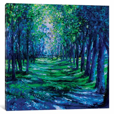 Blue Evergreens Painting Print on Wrapped Canvas Size: 12