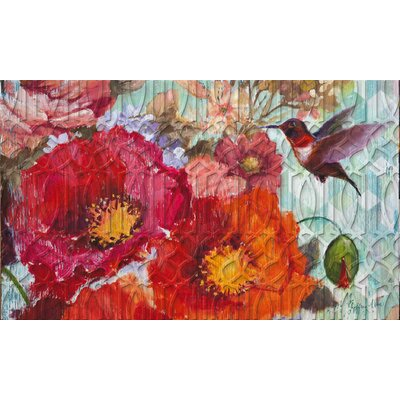 Montmorency Hummingbird and Poppies Embossed Doormat
