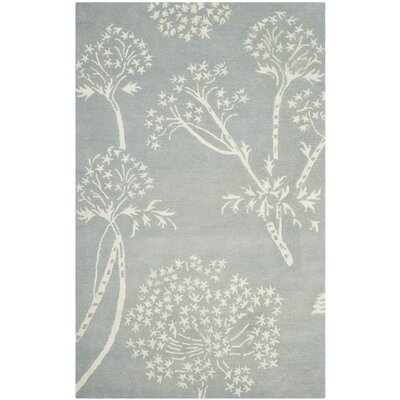 Mandy Hand-Tufted Light Blue/Ivory Area Rug Rug Size: Square 5