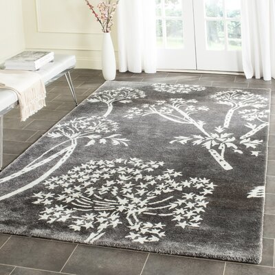 Mandy Hand-Tufted Grey/Ivory Area Rug Rug Size: Rectangle 6 x 9