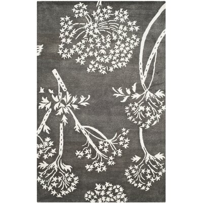 Mandy Hand-Tufted Grey/Ivory Area Rug Rug Size: Square 5