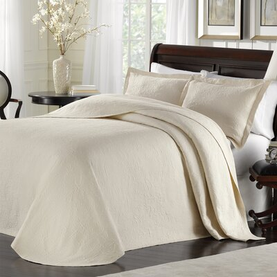 Andlau Bedspread Color: Ivory, Size: King