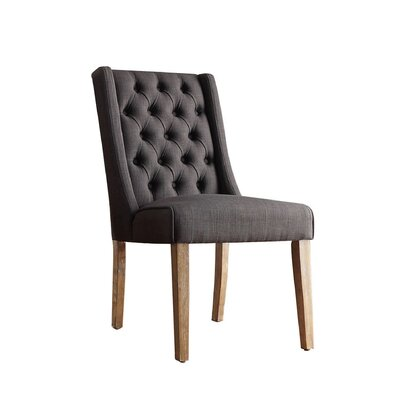 Allain Tufted Side Chair Upholstery: Linen / Dark Gray
