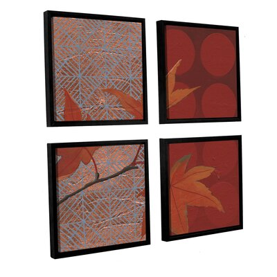 Autumn Tile IV 4 Piece Framed Painting Print on Canvas Set