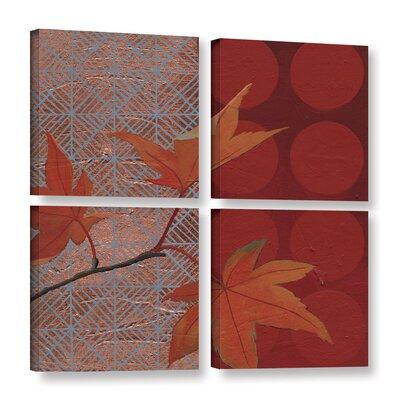 Autumn Tile IV 4 Piece Painting Print on Wrapped Canvas Set