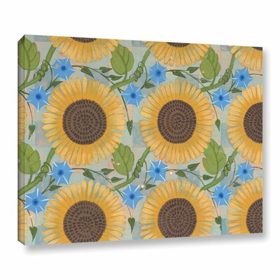 Sunflower Background Painting Print on Wrapped Canvas