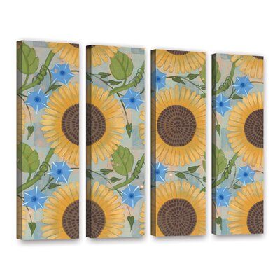 Sunflower Background 4 Piece Painting Print on Wrapped Canvas Set