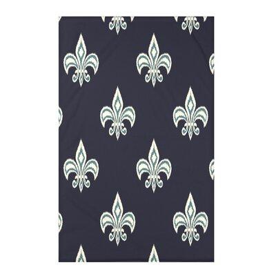 Chambord Fleur de Lis Ikat Print Throw Blanket Size: 50 H x 60 W x 0.5 D, Color: Blue