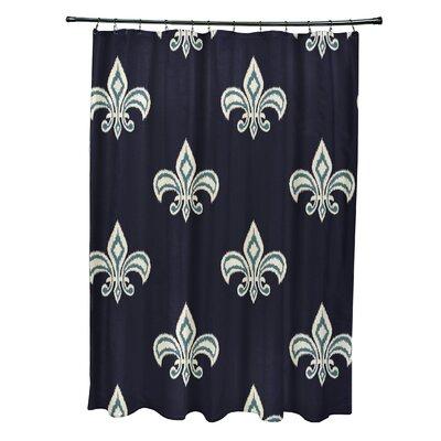 Best Fleur de Lis Ikat Print Shower Curtain Color: Navy Blue