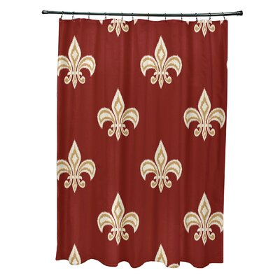 Cannes Fleur de Lis Ikat Print Shower Curtain Color: Orange