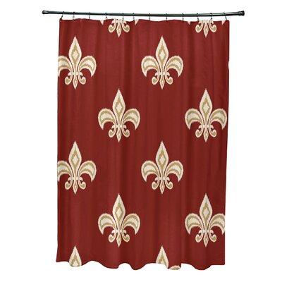 Best Fleur de Lis Ikat Print Shower Curtain Color: Orange
