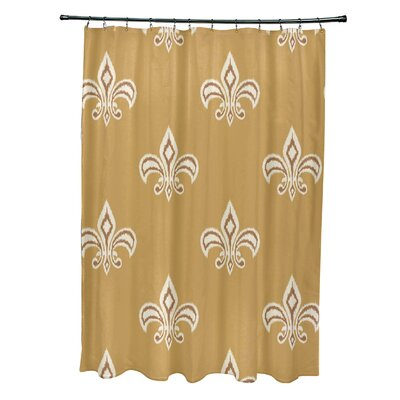 Best Fleur de Lis Ikat Print Shower Curtain Color: Yellow