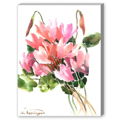 Pink Flowers Painting Print on Gallery Wrapped Canvas Size: 20