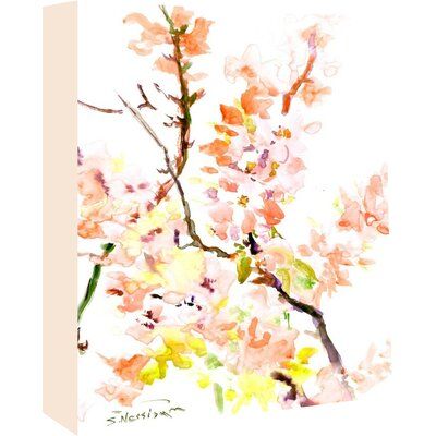 Sakura Cherry blossom Painting on Wrapped Canvas Size: 14