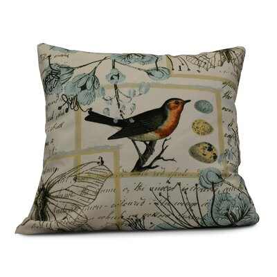 Aruba Sweet Tweets Throw Pillow Color: Aqua, Size: 26 H x 26 W