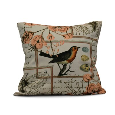Elona Sweet Tweets Throw Pillow Size: 26 H x 26 W, Color: Peach