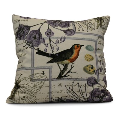 Elona Sweet Tweets Throw Pillow Size: 26 H x 26 W, Color: Lavender