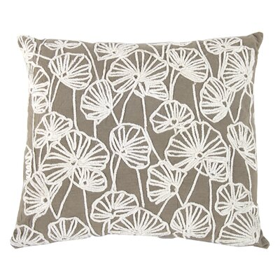 Cassis Embroidered Cotton Throw Pillow Color: Taupe