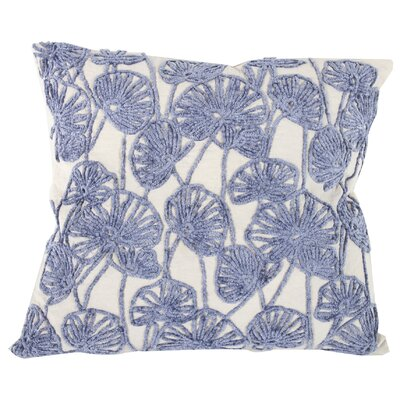 Chaumont Embroidered Cotton Throw Pillow Color: Cream/Blue