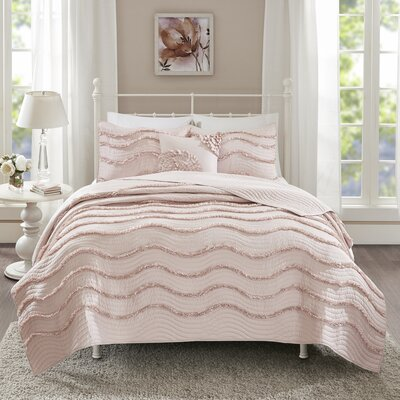 Delphine 4 Piece Coverlet Set Size: King/Cal King, Color: Pink