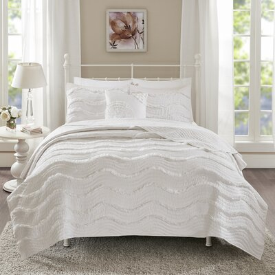 Delphine 4 Piece Coverlet Set Size: King/Cal King, Color: White