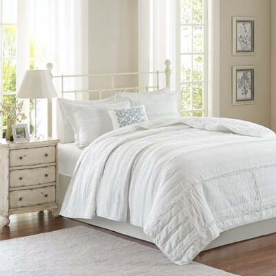 Bridget 4 Piece Coverlet Set Color: White, Size: King/California King