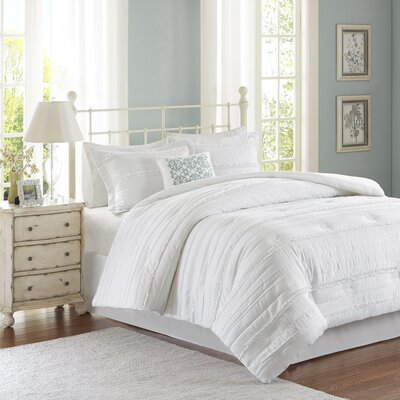 Bridget 5 Piece Comforter Set Color: White, Size: King