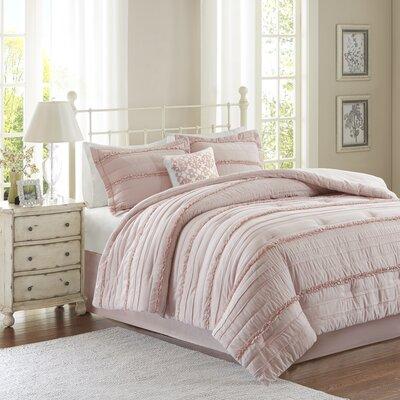 Bridget 5 Piece Comforter Set Size: Queen, Color: Pink