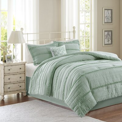 Bridget 5 Piece Comforter Set Size: King, Color: Green