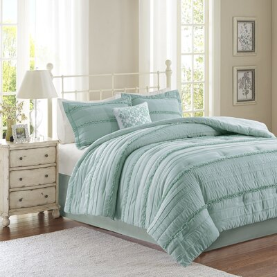 Bridget 5 Piece Comforter Set Size: Queen, Color: Blue