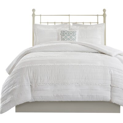 Bridget 4 Piece 2-in-1 Duvet Set Size: Full/Queen, Color: White