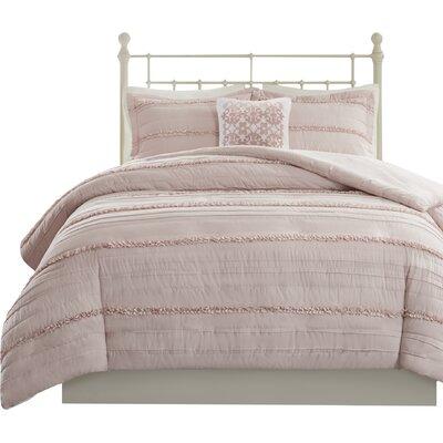 Bridget 4 Piece 2-in-1 Duvet Set Size: Full/Queen, Color: Pink