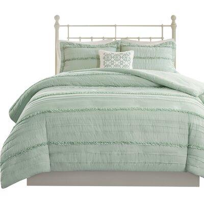 Bridget 4 Piece 2-in-1 Duvet Set Size: Full/Queen, Color: Green
